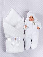 """Велюровый комплект для новорожденных """"Змейка"""" белый, 3-х предметный"""
