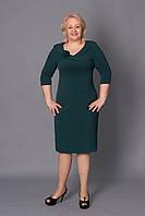 Стильное зеленое платье за колено, приталенного силуэта. Размеры: 52-58