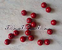 Бусины шарик упаковка, диаметр 14 мм.,красный №26