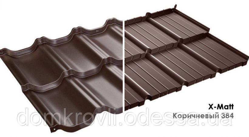 Модульная металлочерепица Murano Мурано Prelaq X-Matt Швеция SSAB коричневый (384)