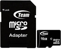 Карта памяти Team MicroSDHC 16GB Class 10+SD adapter