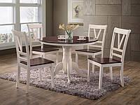 Обеденный стол Элис, круглый нераскладной стол, d1060х750 (ваниль-вишня антик)