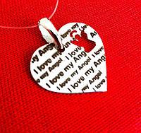 Серебряная родированная подвеска Сердце I Love My Angel
