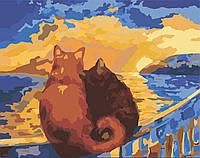 Картина раскраска по номерам без коробки Идейка Коты на закате (KHO2438) 40 х 50 см, фото 1