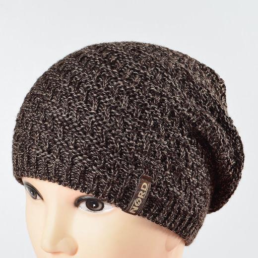 Молодежная удиненая шапка NORD коричневый меланж 1694