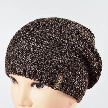 Молодежная удиненая шапка NORD коричневый меланж 1694, фото 2