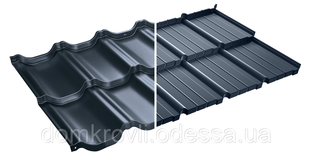 Модульная металлочерепица Murano Мурано X-Matt Швеция SSAB графитовый (455)