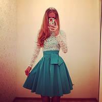 Платье юбка клёш пояс бант