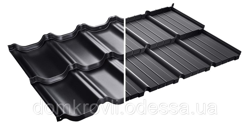 Модульная металлочерепица Murano Мурано  X -Matt Швеция SSAB черный (015).