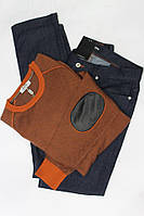 Мужской свитер оранжевый со вставками Hermes
