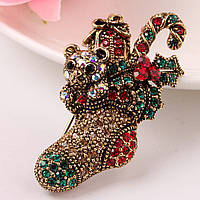 Bow Tie House™ Брошь золотистая - Носок с новогодними подарками