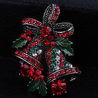 Bow Tie House™ Брошь серебристая - новогодние колокольчики
