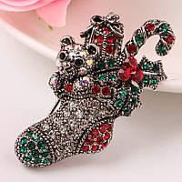 Bow Tie House™ Брошь серебристая - Носок с новогодними подарками