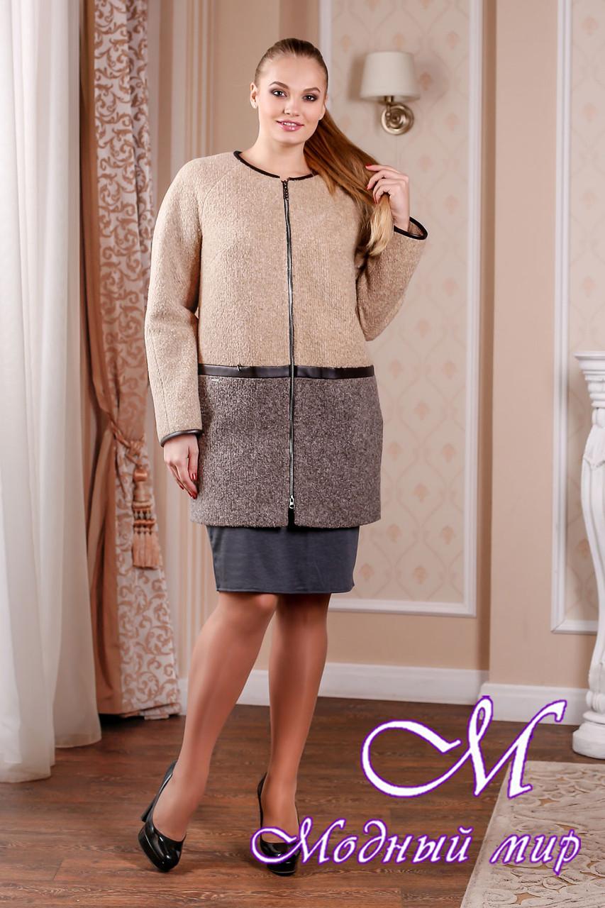 Элегантное женское пальто в бежевых оттенках батал (р. 44-58) арт. 995 Тон 14