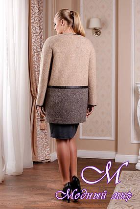Элегантное женское пальто в бежевых оттенках батал (р. 44-58) арт. 995 Тон 14, фото 2
