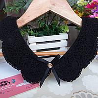 Tie Накладной воротник женский черный с кружевами - женственный