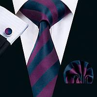 Подарочный мужской галстук баклажанного цвета в полоску с платком и запонками JASON&VOGUE