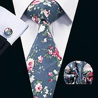 Галстук мужской с платком и запонками синий на свадьбу в цветок - хлопковый JASON&VOGUE