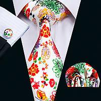 Подарочный мужской галстук яркий шелковый жаккард в наборе JASON&VOGUE