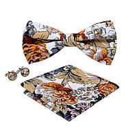 Bow Tie House™ Бабочка хлопковая коричневая в цветок с платком и запонками