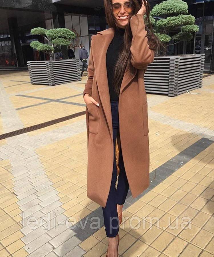 4b3a6eaf211 Пальто женское Кашемировое миди бежевое(кемел) -