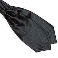 Bow Tie House™ Шейный платок Аскот черный в красный горох