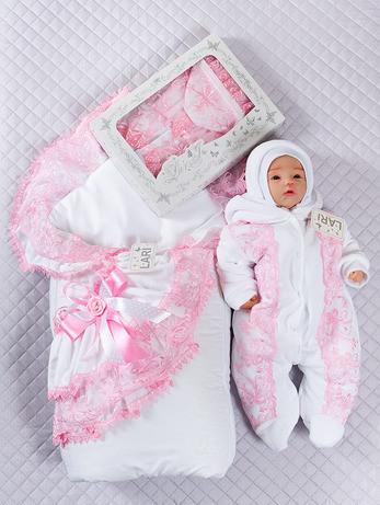 """Зимний набор для девочек """"Луиза"""" бело-розовый, 4-х предметный"""