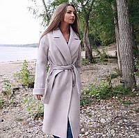 Пальто женское Кашемировое миди светло серое