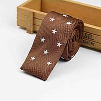 Bow Tie House™ Галстук вязаный коричневый в белую звездочку