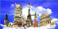 """Картина-часы (25х50 см) """"Достопримечательности"""""""