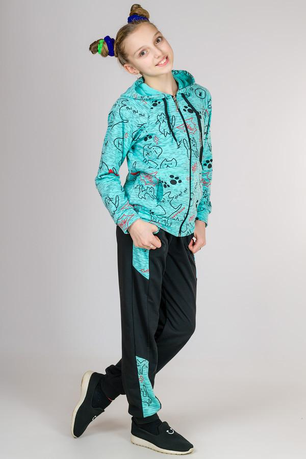 Детский спортивный костюм для девочки Кошки (мята)