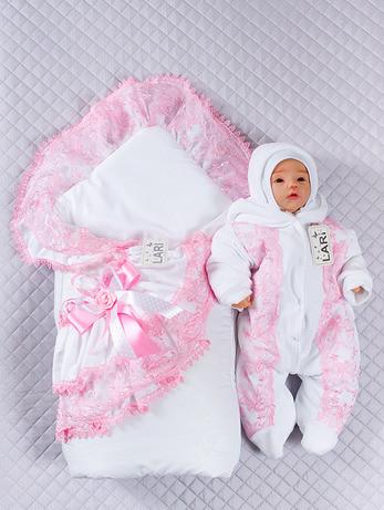 """Набор для девочек """"Луиза"""", белый + розовая отделкой 3-х предметный"""
