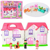 Кукольный дом, музыка, светится, с куклами и мебелью, 8032