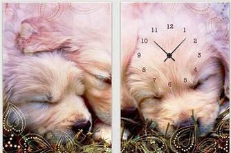 "Модульная картина-часы (100х70 см) ""Щенки"""