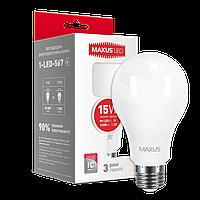 Светодиодная лампа MAXUS, 15W,  3000К, тёплого свечения, цоколь - Е27, 3 года гарантии!!!