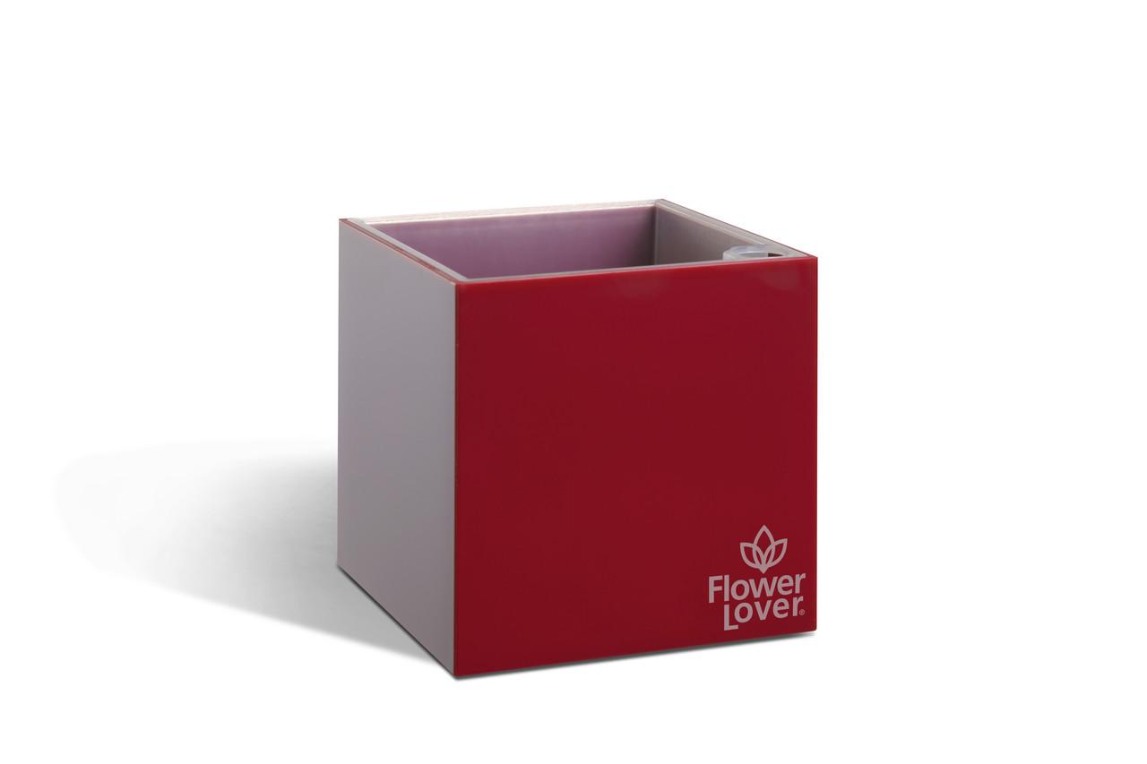 Вазон с системой автополива Cubico  Flower Lover 14х14х14 красный глянцевый