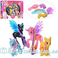 """Игровой набор пони """"Little Horse"""" (аналог My little Pony): 4 пони + аксессуары для причесок"""