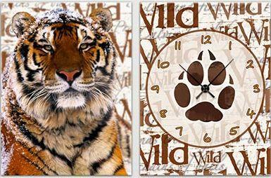 "Модульная картина-часы (60х40 см) ""Тигр"""