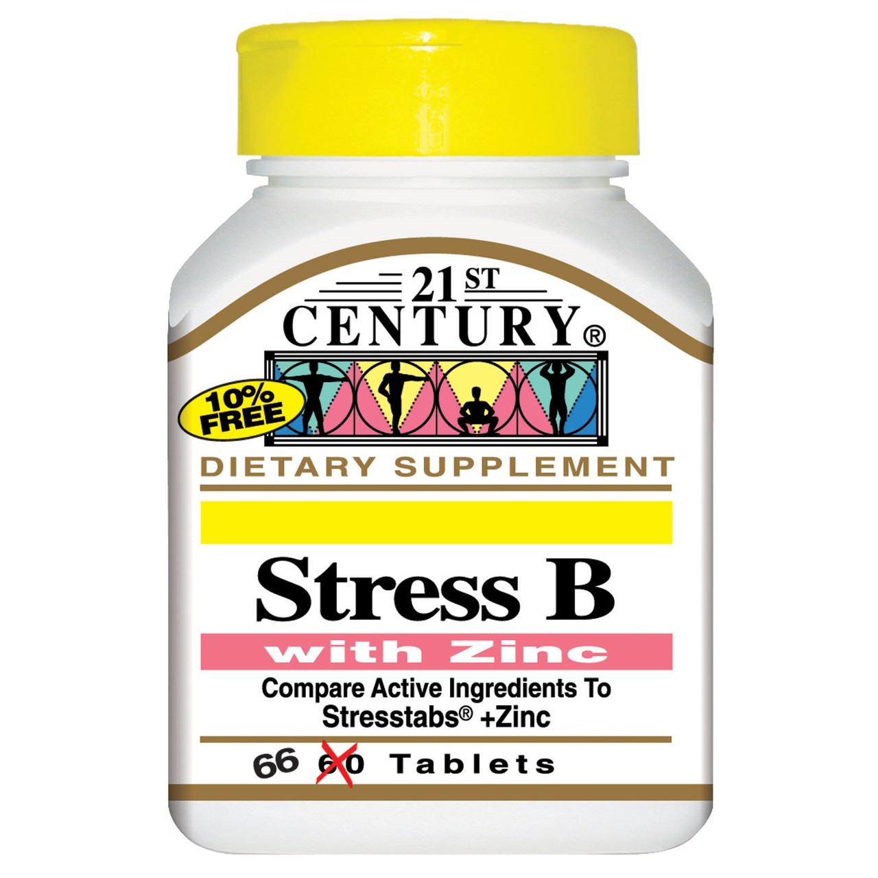 Комплекс витаминов группы В, Stress B, 21st Century, с цинком, 66 таблеток
