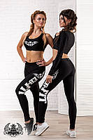 Женский фитнес костюм лосины + топ без рукава. Материал бифлеск. Размер ХS, S, М