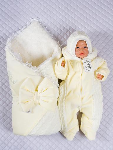 """Зимний велюровый комплект для новорожденных """"Дуэт"""" кремовый, 3-х предметный"""