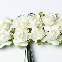 Бумажные цветочки для скрапбукинга 12 шт. 2 см на ножке Ivory кремовые, фото 1