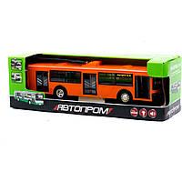 """Троллейбус, автобус инерц. 9690ABCD """"АВТОПРОМ""""на батарейках, , свет, звук, 32,7*10*10 см"""