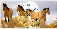 "Картина-часы (50х25 см) ""Кони"""