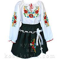 Український костюм (темно-зелена спідничка) 1-10 років, фото 1