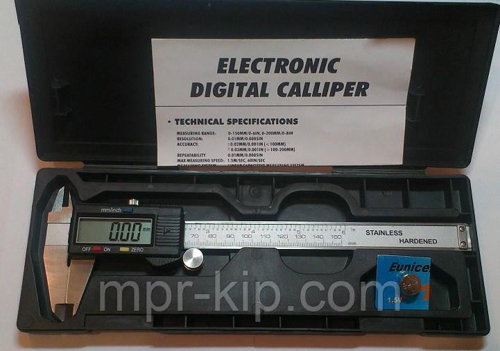 Штангенциркуль электронный VERNIER 150 (T304М. W-1215) D - 150 мм, точность 0,01 мм, с бегунком