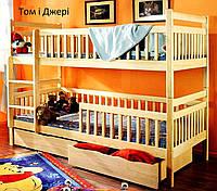 """Ліжко двоярусне з натурального дерева """"Том і Джері"""""""