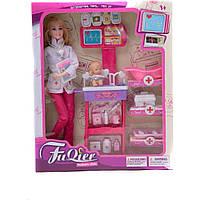 "Кукла типа ""Барби""Доктор"" JX100-23 2 вида, с мебелью, ребенком, аксесс, 27*7*33 см"