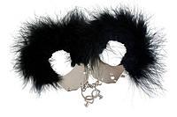 Наручники металлические с черной отделкой Adrien Lastic Handcuffs