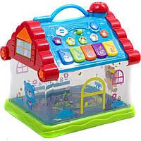 Музыкальная развивающая игрушка домик 876 на батарейках, , цифры, звуки жив., 23,5*19,5*15 см